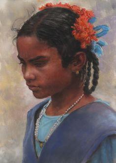 """Portrait pastel sec - portrait soft pastel -Jean-Francois Le Saint - """"portrait of indian schoolgirl"""" 25x35cm"""