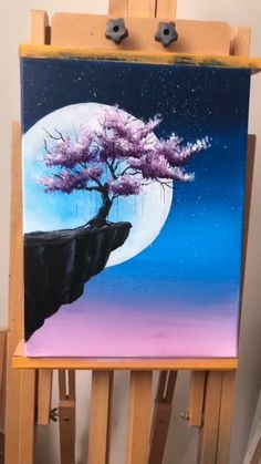 Painting Idea - Tree And Moon - A simple demo to show you how to draw tree and m. - Painting Idea – Tree And Moon – A simple demo to show you how to draw tree and moon. Easy Canvas Art, Simple Canvas Paintings, Small Canvas Art, Art Paintings, Watercolor Paintings, Magical Paintings, Watercolor Art Lessons, Watercolor Tips, Watercolor Tutorials