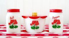 Vintage Milk Glass Range Set Red Geraniums Salt Pepper and Drips jar.