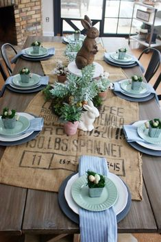Such gorgeous Easter table decor ideas full of soft colors and bunny accents. Great for spring decor! table settings Easter Table Decor - One Thousand Oaks Easter Table Settings, Easter Table Decorations, Decoration Table, Easter Decor, Table Centerpieces, Centerpiece Ideas, Spring Decorations, Easter Ideas, Quinceanera Centerpieces