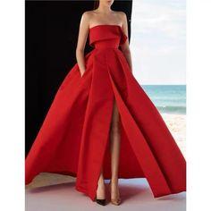 Red party dress strapless evening dress high split prom dress satin long formal dress backless evening dress sold by Happinessdress. Split Prom Dresses, Strapless Dress Formal, Elegant Dresses, Beautiful Dresses, Formal Dresses, Vestido Strapless, Look Formal, The Dress, Dream Dress