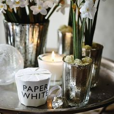 Paper White Votive Candle - smells like home a christmas - paper whites and hyacinths