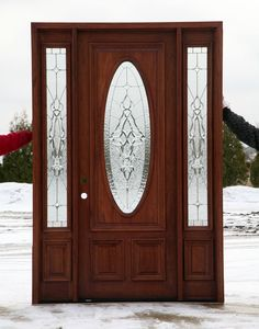 Front Doors with leaded glass.
