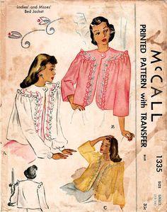 1940s McCall 1335 UNCUT Vintage Sewing Pattern Misses Bed #vintageclothing