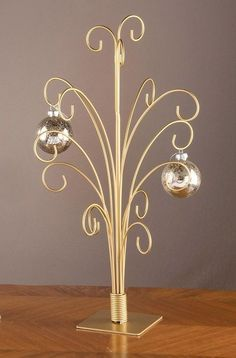 20 gold toned metal christmas ornament display tree stand holds 15 collectibles - Metal Christmas Decoration Stand