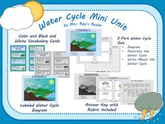 I created this product to use in my fourth grade science class to study the water cycle. It includes vocabulary cards with pictures (great for ELLs). There is also a labeled water cycle diagram to use for instruction. The quiz consists of three sections. There is a labeling section, an illustrating section, and a writing section. I try to integrate writing into the other core subjects as much as possible. I included an answer key and rubric for the quiz to make grading a breeze.