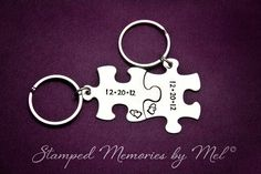 Anniversary Date - Hand Stamped Puzzle Piece Keychain Set - Couple Key Chain Gift - Wedding, Anniversary or Birthday Present - Personalized