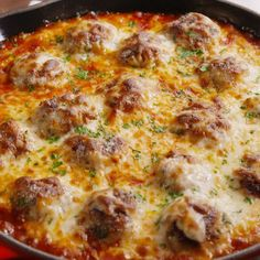 Chicken Parmesan Meatball Skillet -- All the flavors you love in Chicken Parm in a super-delicious, juicy meatball.