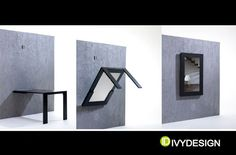 Brilliant! Picture frame (or mirror) fold up table.