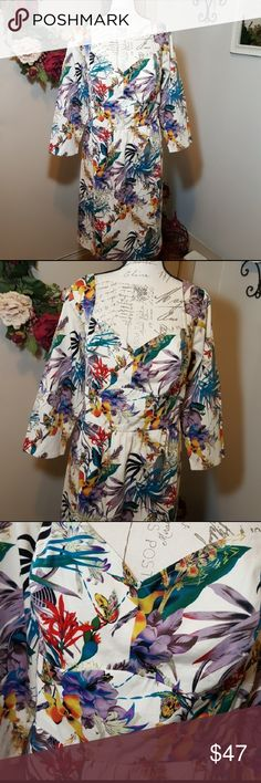 """eShakti Plus Size Floral Print Dress w Pockets Tropical floral print dress with pockets, side zip closure and sweetheart neckline, fully lined.  Size 2X or 22W NWOT. Dress is clipped to fit mannequin. Please refer to measurements.  Measurements are approximate: 20"""" shoulder 48"""" bust 44"""" banded waist 21"""" sleeve length 42"""" length eshakti Dresses"""
