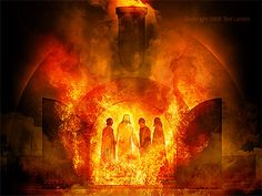 Miracle Angel - from The Fiery Furnace with Shadrach, Meshach, and Abednego (Dan Sadrac Mesac Y Abednego, Fiery Furnace, Bible Pictures, Prophetic Art, Biblical Art, Son Of God, Bible Stories, Bible Art, Lds Art