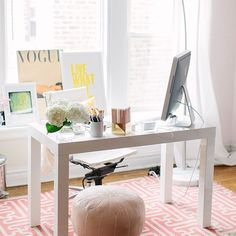 love how light this is! and the flowers, of course 30 Chic Workspaces From Pinterest and Instagram | StyleCaster