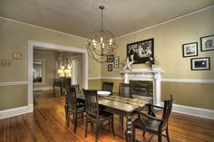 Love this vintage dining room and chandelier!