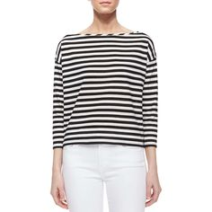 Milly Riviera 3/4-Sleeve Striped Sailor Tee ($64) ❤ liked on Polyvore featuring tops, t-shirts, 3/4 sleeve tee, boat neck striped tee, sweater pullover, boxy t shirt and striped tee