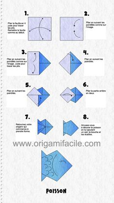 fácil diagramme origami facile pour la réalisation d& poisson easy origami diagram for the realization of a fish Origami Swan, Origami Yoda, Origami Star Box, Kids Origami, Origami Paper Art, Origami Dragon, Origami Fish, Origami Folding, Origami Simple