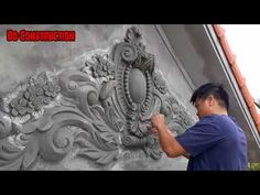 Decor Front Wall with Floral Cement Art - Cement Plaster Carving - YouTube