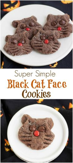 These Super Simple Chocolate Black Cat Face Cookies are fun for kids to make and perfect for your Halloween celebrations. Get the recipe at MealPlanningMagic. Easy Homemade Cookie Recipes, Best Cookie Recipes, Cat Cookies, Cookies Et Biscuits, Chocolate Cat, Chocolate Cookies, Halloween Food For Party, Halloween Ideas, Halloween Drinks