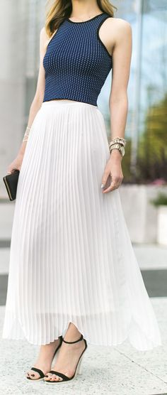 Rules Of Etiquette White Springy Accordion Pleats and scalloped hemline Maxi Skirt