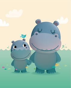 Mother and baby hippo art print nursery illustration baby