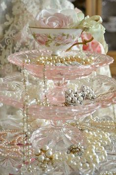 pearls and pink glass