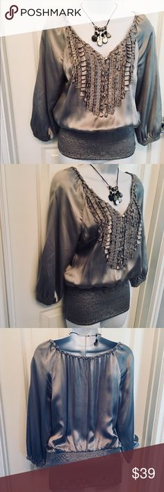 WHBM Silver Silk Top Luxurious silver silk ruched into a figure-flattering top and finished with ruffled detail at front. Like new❣️ White House Black Market Tops Blouses