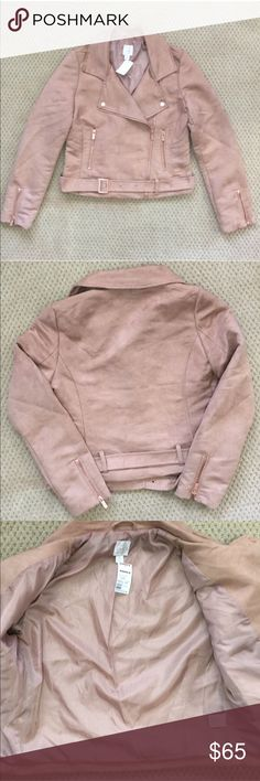 LC Lauren Conrad Runway Tan Faux Suede Jacket NWT - LC Lauren Conrad Runway Tan Faux Suede Jacket. Rose gold embellishments and zippers. Belt along the bottom. One small mark in the inside as seen in pic above. LC Lauren Conrad Jackets & Coats