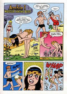 it's the old swat the mosquito (behind) gag this time featuring Archie and Veronica Archie Comics Characters, Archie Comic Books, Old Comic Books, Riverdale Archie, Riverdale Memes, Funny Cartoon Pictures, Funny Picture Jokes, Old Comics, Vintage Comics