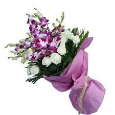 Online delivery of fresh flowers in india. An Adorable bunch of 6 Purple orchids and 15 White Roses that is sure to bring smiles to your loves ones. Send Flowers Online, Order Flowers, Bunch Of Flowers, Fresh Flowers, Gift Flowers, Online Flower Delivery, Same Day Flower Delivery, Online Florist, Local Florist