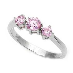 Lacey's Three-Stone Brilliant Cut Pink Cubic Zirconia Fashion Ring
