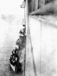 There are few photographs of the rescuing of passengers onboard the ill-fated Titanic cruise ship, but this is one, albeit quite poor in quality, shows part of the rescue.