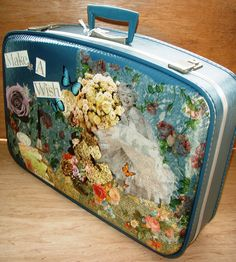 suitcase~I have this in green!!!! Will be fun to decorate!