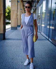 """The Rachel Jumpsuit can easily be styled up or down. Adri @adritheschneider wore her version with a T-shirt and sneakers and this is what she said about the pattern:""""I've never been into the jumpsuit trend, but I immediately fell in love with this one. The panels are so unique! 👌I can wear it with sneakers or dress it up with heels. If there is something you should sew to get out of your comfort zone THIS IS IT!"""".#diywardrobe #sewinglifestyle #diyfashionblogger #sewingyourdreamwardrobe… Diy Wardrobe, Jumpsuits For Women, Dressmaking, Woven Fabric, Chambray, Sewing Patterns, Trousers, Shirt Dress, Comfort Zone"""