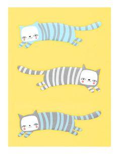 three striped kitties. cats in blue, gray, on yellow - 8.5 x 11 art print