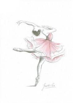 Ballerina Art Ballerina Print Ballerina Picture Pink by EwaGawlik - Ballerina Drawing, Ballet Drawings, Dancer Drawing, Dancing Drawings, Art Drawings Sketches, Cute Drawings, Dance Paintings, Painting Art, Watercolor Paintings