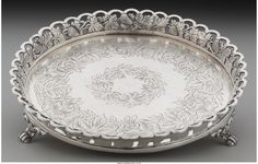 A Portuguese Silver Footed Salver, Porto, Marks: (Crowned P), APC inches high x 7 inches diameter x cm) troy ounces. Silver Lamp, Silver Trays, Naming Ceremony Decoration, Silver Pooja Items, Pooja Room Door Design, Silver Ornaments, Silver Accessories, Antique Items, Necklace Designs