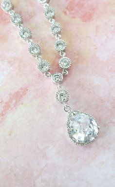 Lauriane Cubic Zirconia Teardrop Necklace with by GlitzAndLove