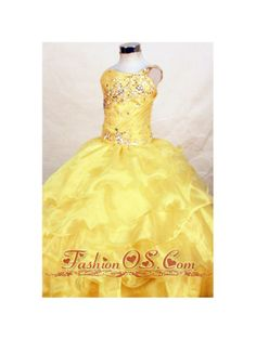 2013 Yellow Beautiful Beaded Decorate Bust Little Girl Pageant Dresses With One Shoulder Neck Ruffles  http://www.fashionos.com  http://www.facebook.com/quinceaneradress.fashionos.us  Layers of ruffled organza adorn to perfection the beauty of the skirt spreading admiration to the audience. A ruffled skirt completes the look of this pageant dress. This cute dress is a great choice for your 2013 pageant. Zipper up back.