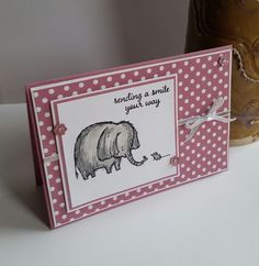 Independant Stampin' Up! Demonstrator stampwithpeg – Card for many uses, using Love you lots stamp set, and Sweet Sugarplum. I love this little elephant & mouse combo so much I just had to use …