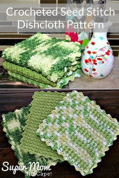 Crocheted Seed Stitch Dishcloth Pattern - crocheted dish cloths are strong enough to clean the dirties pans but soft enough for your most delicate glassware. And they last for years. This pattern works up super fast so you'll have a collection of new dis Crochet Kitchen, Crochet Home, Knit Or Crochet, Crochet Gifts, Easy Crochet, Free Crochet, Crochet Geek, Crochet Mandala, Double Crochet