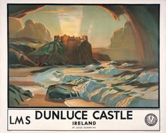 Irish Travel Art Poster, Dunluce Castle, County Antrim, Northern Ireland