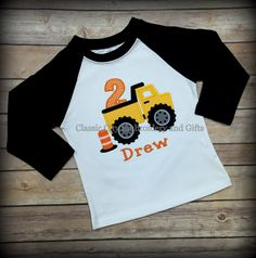 A personal favorite from my Etsy shop https://www.etsy.com/listing/262307985/construction-birthday-shirt-dump-truck