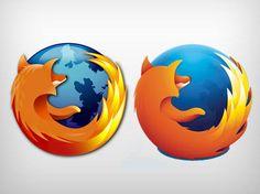 Logotipos antigo e novo da Firefox
