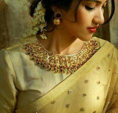 Beautiful Neckline, Earrings, #Gajra flower on Hair, Makeup... via @sunjayjk