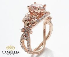 If only I could have this ring so beautiful 14K Rose Gold Morganite engagement ring by CamelliaJewelry on Etsy