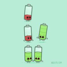 Low battery by Naolito on DeviantArt Cute Jokes, Cute Puns, Funny Puns, Funny Humor, Funny Doodles, Cute Doodles, Japon Illustration, Funny Illustration, Cute Cartoon Drawings