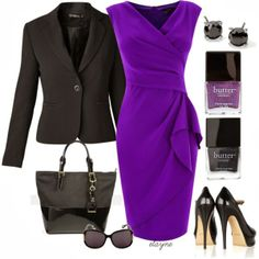 Elegant Outfits | Purple Crepe Dress  Coast dress, RAXEVSKY blazer, Yves Saint Laurent shoes, Ralph Lauren tote bag, Injected Sunglasses, LONDON Nail Lacquer  by elayne