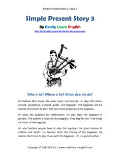 Practice the English Simple Present Tense with this printable story and worksheets. Find more stories and worksheets here: http://www.really-learn-english.com/english-grammar-tenses.html