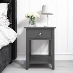 Buy Harper Grey Solid Wood 1 Drawer Bedside Table from - the UK's leading online furniture and bed store Pink Gray Bedroom, Traditional Interior, Round House, Grey Paint, Open Shelving, Online Furniture, Bedside, Pink Grey, Solid Wood
