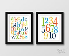 INSTANT DOWNLOAD 8x10 Alphabet Letters and numbers 1-10 Baby Boy Bright Printable Baby Nursery Wall Art - Digital jpeg File  ★★★★★★★★★★★★★★★★★★★★★★★★★★  This listing is for the High Resolution 8x10 PRINTABLE .pdf File  Simply download and print from home or through a photo printing lab. YOU WILL RECEIVE: 2- 8x10 .jpg files (as shown in the sample - frames not included) *This is a DIGITAL File - No items will be shipped - After Checkout you will be prompted to the download page…