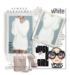 """""""YOINS White Mohair V Neck LS Jumper"""" by wanda-india-acosta ❤ liked on Polyvore featuring Arco, Anja, Balenciaga and yoins"""
